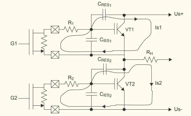 полевых транзисторах VT1,